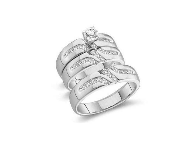 10k White Gold Mens and Ladies Couple His & Hers Trio 3 Three Ring Matching Engagement Wedding Ring Band Set - Round Diamonds - Solitaire Center Setting (1/4 cttw, H Color, I1 Clarity)