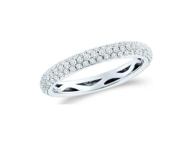 14k White Gold Round Cut Diamond Ladies Womens Puff Dome Channel Set Wedding or Anniversary Ring Band (3/4 cttw, G - H Color, SI2 Clarity)