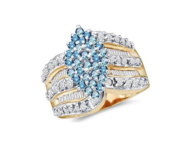 10k White Gold Large Marquise Shape Cluster w/ Blue Diamonds Round Cut & Baguette Diamond Engagement Ring  (1.0 cttw, H Color, I1 Clarity)