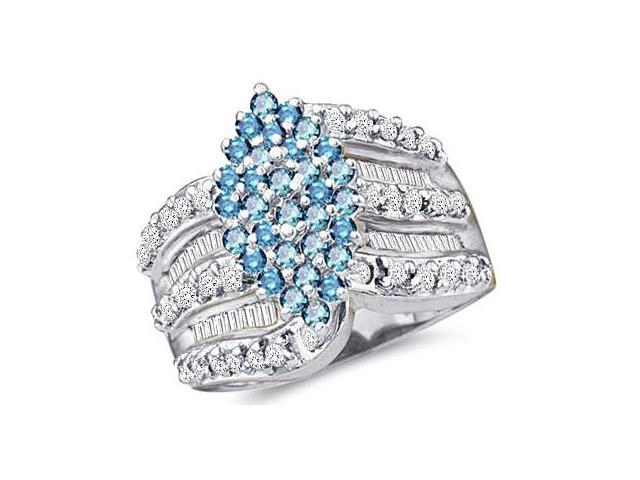 10k Yellow Gold Large Marquise Shape Cluster w/ Blue Diamonds Round Cut & Baguette Diamond Engagement Ring  (1.0 cttw, H Color, I1 Clarity)