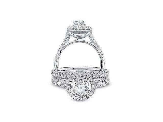 14k White Gold Diamond Engagement Ring Matching Puffed Wedding Band Two 2 Ring Set Halo Round Cut Diamond Ring 10mm (1.23 cttw, 2/5 ct Center, G - H Color, SI2 Clarity)