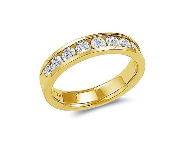 14k Yellow Gold Round Cut Nine Diamond Channel Set Ladies Womens 9 Stone Wedding or Anniversary 4mm Ring Band (1.03 cttw, G - H Color, SI2 Clarity)