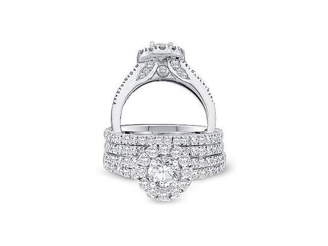 14k White Gold Diamond Engagement Ring & Wedding Band Three 3 Ring Set Halo Large Princess and Round Cut Diamond Ring 10mm (1.25 cttw, 2/5 ct Center, G - H Color, SI2 Clarity)