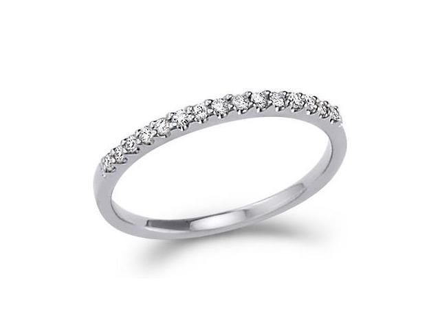 14k White Gold Round Cut Diamond Ladies Womens Channel Set Wedding or Anniversary 2mm Ring Band (.15 cttw, G - H Color, I1 Clarity)
