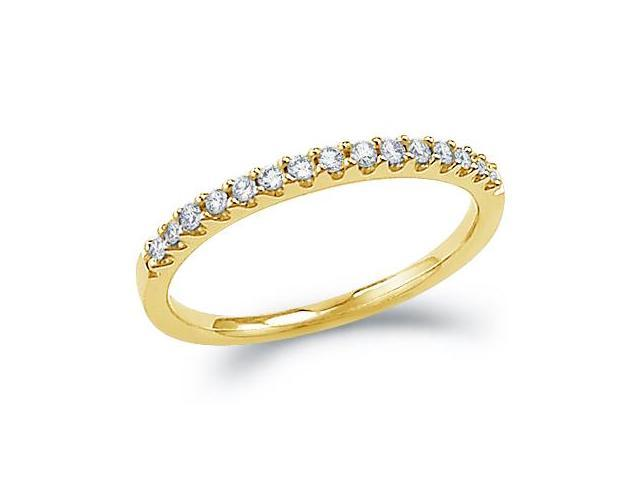 14k Yellow Gold Round Cut Diamond Ladies Womens Channel Set Wedding or Anniversary 2mm Ring Band (.15 cttw, G - H Color, I1 Clarity)