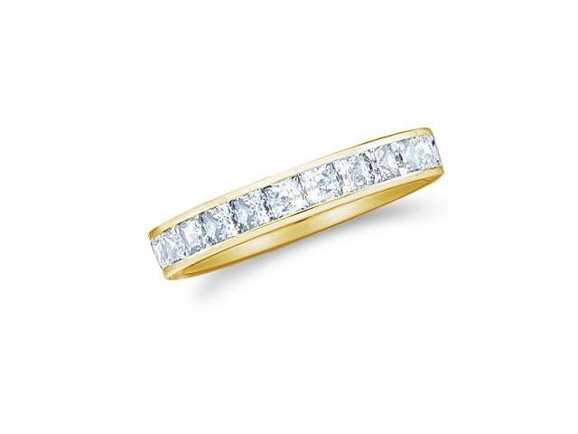14k Yellow Gold Princess Cut Channel Set Diamond Ladies Womens Wedding or Anniversary 3mm Ring Band (1.01 cttw, G - H Color, SI2 Clarity)