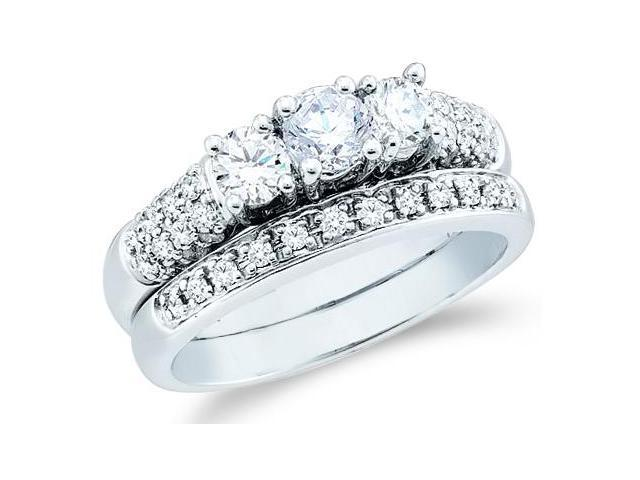 14k White Gold Diamond Ladies Engagement Ring Wedding Band Two 2 Ring Set Three 3 Stone Style Center Setting Side Stones Round Cut Diamond Ring  (1.09 cttw, G - H Color, SI2 Clarity)