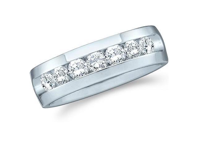 14k White Gold Seven 7 Stone Channel Set Round Cut Mens Diamond Wedding Ring Band (1.50 cttw, G - H Color, SI2 Clarity)