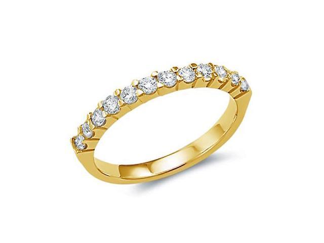 14k Yellow Gold Round Cut Twelve Diamond Ladies Womens 12 Stone Channel Set Wedding or Anniversary 2mm Ring Band (.53 cttw, G - H Color, SI2 Clarity)