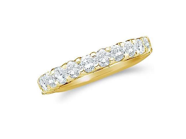 14k Yellow Gold Round Cut Diamond Ladies Womens Channel Set Wedding or Anniversary 3mm Ring Band (1.03 cttw, G - H Color, SI2 Clarity)
