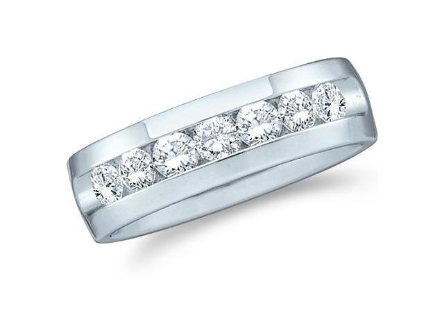 14k White Gold Seven 7 Stone Channel Set Round Cut Mens Diamond Wedding Ring Band 6mm (1/4 cttw, G - H Color, SI2 Clarity)