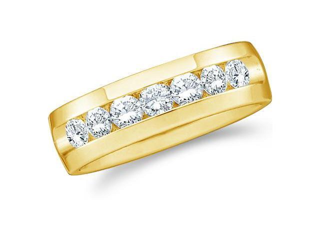 14k Yellow Gold Seven 7 Stone Channel Set Round Cut Mens Diamond Wedding Ring Band 6mm (1/4 cttw, G - H Color, SI2 Clarity)