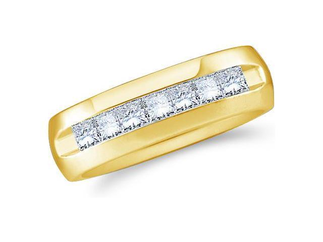 14k Yellow Gold Seven 7 Stone Channel Invisible Set Princess Cut Mens Diamond Wedding Ring Band 6mm (.53 cttw, G - H Color, SI2 Clarity)