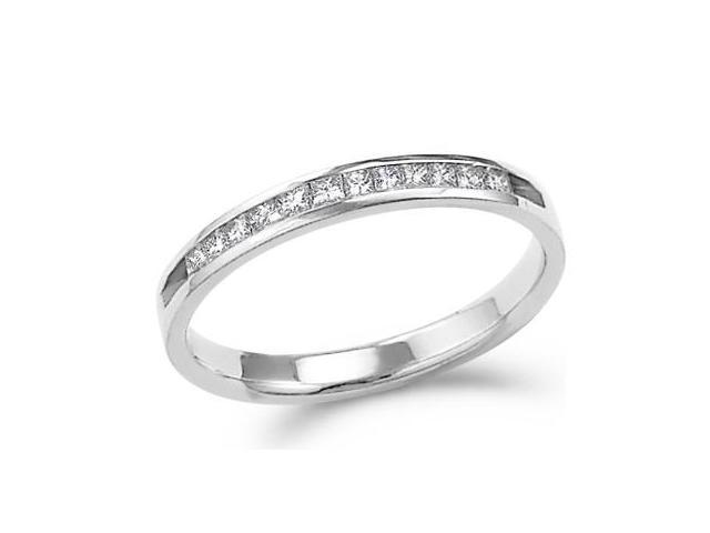 14k White Gold Princess Cut Channel Set Diamond Ladies Womens Wedding or Anniversary 2mm Ring Band (1/4 cttw, G - H Color, SI2 Clarity)