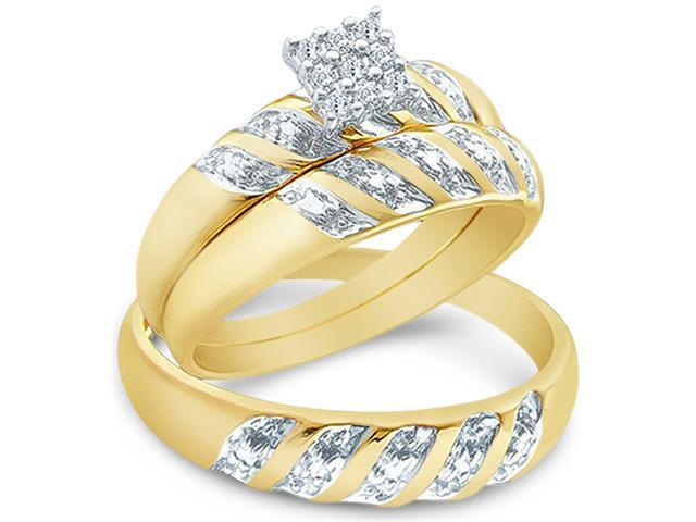 14k Yellow and White 2 Two Tone Gold Trio 3 Three Ring Matching Engagement Wedding Ring Band Set - Round Diamonds - Princess Shape Center Setting (.09 cttw, H Color, I1 Clarity)
