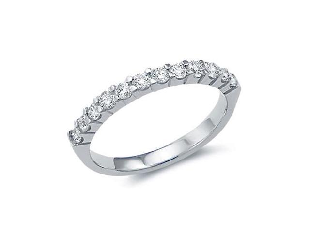 14k White Gold Round Cut Twelve Diamond Ladies Womens 12 Stone Channel Set Wedding or Anniversary 2mm Ring Band (.53 cttw, G - H Color, SI2 Clarity)