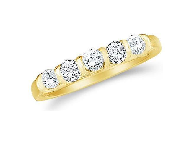 14k Yellow Gold Round Cut Five Diamond Ladies Womens 5 Stone Wedding or Anniversary 4mm Ring Band (1.0 cttw, G - H Color, SI2 Clarity)