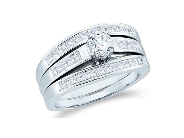 14k White Gold Diamond Engagement Ring & Wedding Band Three 3 Ring Set Solitaire Style Center Setting Diamond Ring (1.0 cttw, 2/5 ct Center, G - H Color, SI2 Clarity)