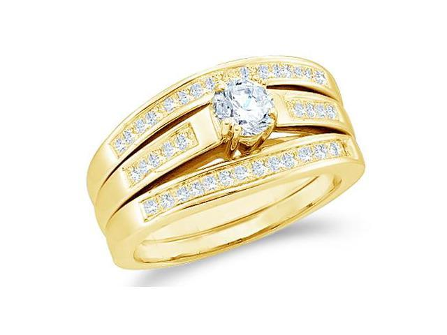 14k Yellow Gold Diamond Engagement Ring & Wedding Band Three 3 Ring Set Solitaire Style Center Setting Diamond Ring (1.0 cttw, 2/5 ct Center, G - H Color, SI2 Clarity)