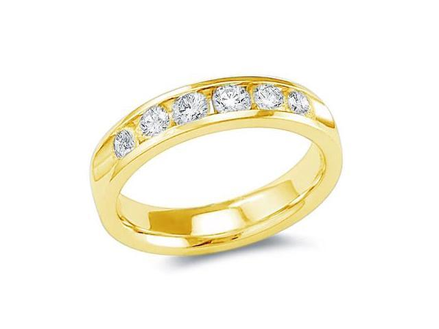 14k Yellow Gold Round Cut Six 6 Stone Diamond Channel Set Ladies Womens Wedding or Anniversary 4mm Ring Band (.78 cttw, G - H Color, SI2 Clarity)