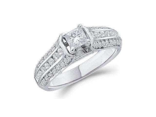 14k White Gold Diamond Engagement Solitaire with Side Stones Channel Set Princess and Round Brilliant Cut Diamond Ring 5mm (.99 cttw, 2/5 ct Center, G - H Color, SI2 Clarity)