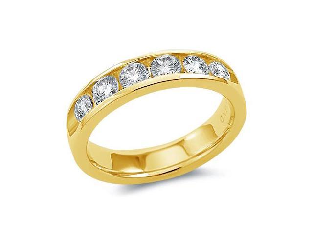 14k Yellow Gold Round Cut Six 6 Stone Diamond Channel Set Ladies Womens Wedding or Anniversary 4mm Ring Band (1.03 cttw, G - H Color, SI2 Clarity)