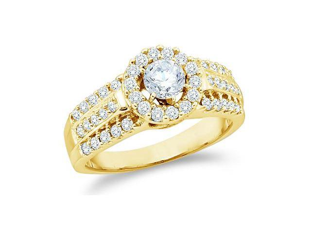 14k Yellow Gold Diamond Engagement Wedding Solitaire with Side Stones Channel Set Halo Round Brilliant Cut Diamond Ring  (1.0 cttw, 2/5 ct Center, G - H Color, SI2 Clarity)
