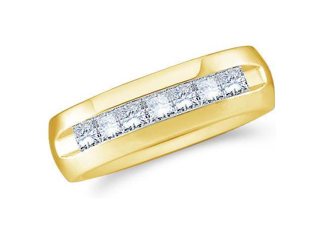 14k Yellow Gold Seven 7 Stone Channel Invisible Set Princess Cut Mens Diamond Wedding Ring Band 7mm (1.53 cttw, G - H Color, SI2 Clarity)