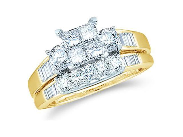 10k Yellow Gold Diamond Engagement Ring Wedding Band Two 2 Ring Set Solitaire Three 3 Stone Style Center Setting Five 5 Stone  Diamond Ring 5mm (1.0 cttw, G - H Color, SI2 Clarity)