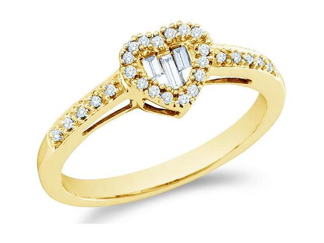14k Yellow Gold Heart Shape Love Channel Set Round Cut & Baguette Womens Diamond Engagement Wedding Anniversary Ring Band 7mm (.15 cttw, H Color, I1 Clarity)