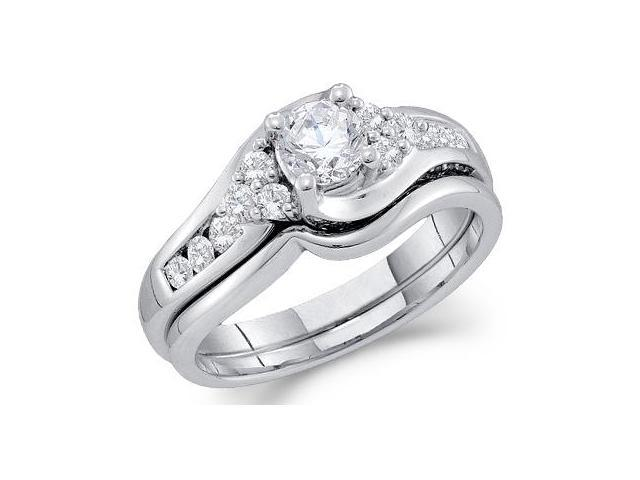 14k White Gold Diamond Engagement Ring Wedding Band Two 2 Ring Set Solitaire Style Center Setting Side Stones Round Cut Diamond Ring  (1.0 cttw, 2/5 ct Center, G - H Color, SI2 Clarity)