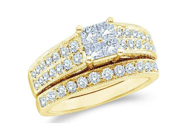 14k Yellow Gold Diamond Engagement Ring Wedding Band Two 2 Ring Set Solitaire Style Center Setting Side Stones Princess and Round Cut Diamond Ring  (3/4 cttw, G - H Color, SI2 Clarity)