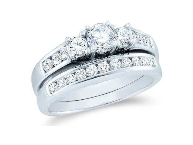 14k White Gold Diamond Engagement Ring Wedding Band Two 2 Ring Set Three 3 Stone Style Center Setting Round Cut Diamond Ring  (1.0 cttw, 1/3 ct Center, G - H Color, SI2 Clarity)