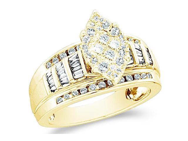 14k Yellow Gold Diamond Engagement Wedding Solitaire Style Center Setting Marquise Shape Center Side Stones Princess , Round & Baguette Cut Diamond Ring  (.92 cttw, H Color, I1 Clarity)