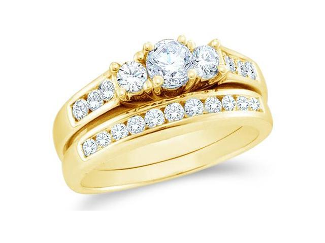 14k Yellow Gold Diamond Engagement Ring Wedding Band Two 2 Ring Set Three 3 Stone Style Center Setting Round Cut Diamond Ring  (1.0 cttw, 1/3 ct Center, G - H Color, SI2 Clarity)