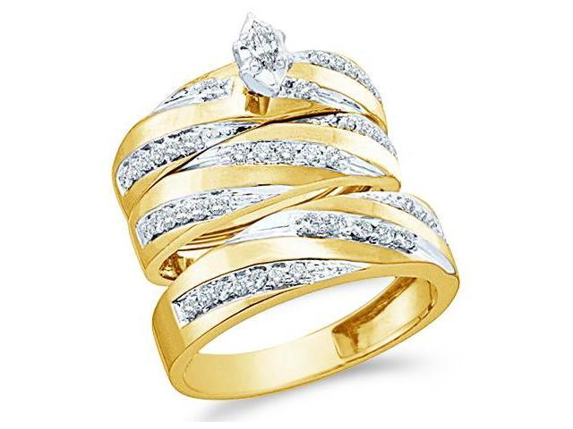 10k White and Yellow 2 Two Tone Gold Trio 3 Three Ring Matching Engagement Wedding Ring Band Set - Marquise and Round Diamonds - Solitaire Center Setting (.77 cttw, H Color, I1 Clarity)