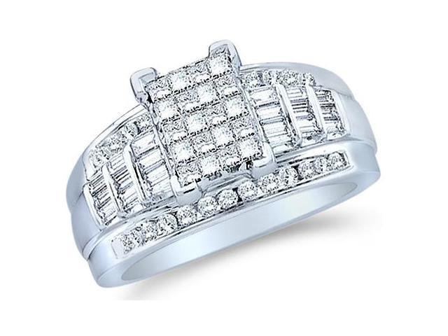 14k White Gold Large Emerald Shape Invisible Channel Set Princess , Round & Baguette Ladies Diamond Engagement Wedding Ring Band 11mm (3.0 cttw, G - H Color, SI2 Clarity)