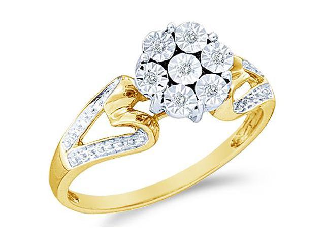 10k White and Yellow Two 2 Tone Gold Heart Shape Sides Pave Set Round Cut Diamond Engagement Ring 8mm (.04 cttw, H Color, I1 Clarity)