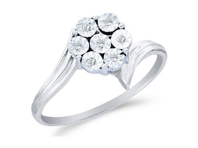 10k White and Yellow Two 2 Tone Gold Pave Set Round Cut Diamond Engagement Ring 8mm (.04 cttw, H Color, I1 Clarity)