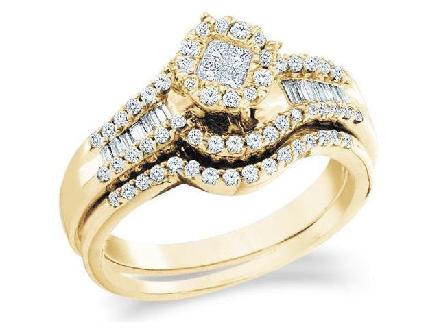 14k Yellow Gold Diamond Ladies Engagement Ring Wedding Band Two 2 Ring Set Solitaire Style Center Setting Side Stones  Diamond Ring  (.64 cttw, G - H Color, SI2 Clarity)