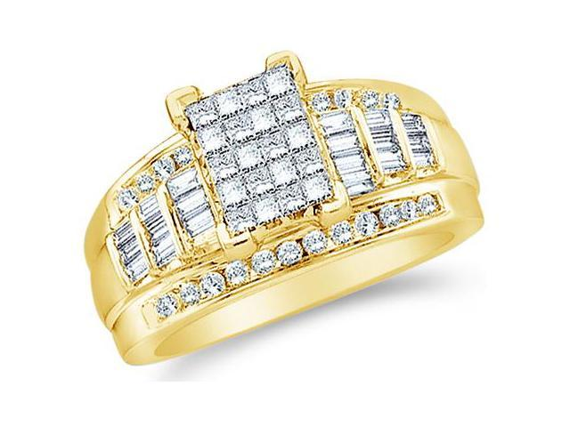 14k Yellow Gold Large Emerald Shape Invisible Channel Set Princess , Round & Baguette Ladies Diamond Engagement Wedding Ring Band 11mm (3.0 cttw, G - H Color, SI2 Clarity)