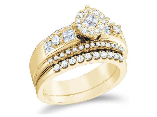 14k Yellow Gold Diamond Engagement Ring Wedding Band Two 2 Ring Set Solitaire Style Center Setting Side Stones Princess and Round Cut Diamond Ring  (.71 cttw, G - H Color, SI2 Clarity)