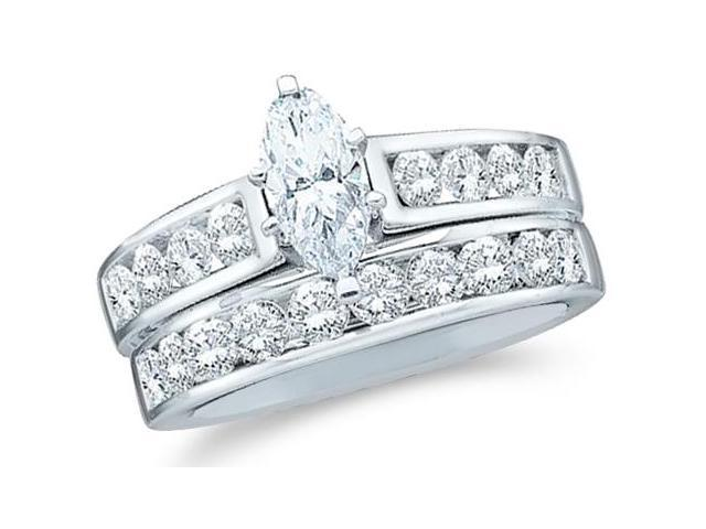 14k White Gold Diamond Ladies Engagement Ring Wedding Band Two 2 Ring Set Solitaire Side Stones Marquise and Round Cut Diamond Ring  (1.0 cttw, 1/4 ct Center, G - H Color, I1 Clarity)