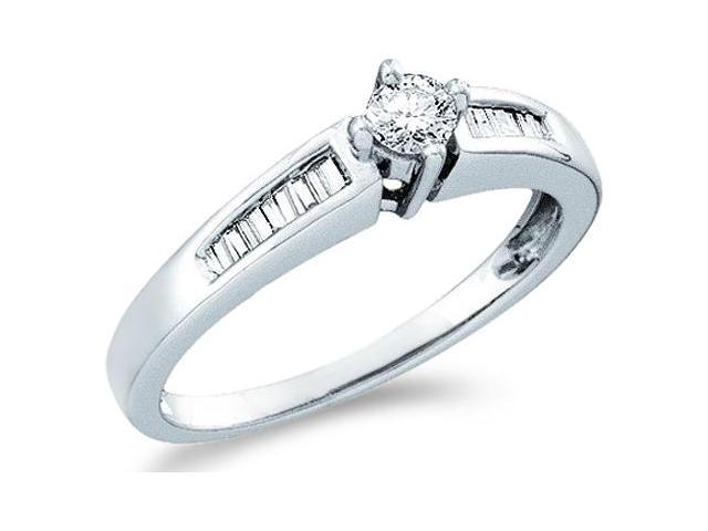 10k White Gold Diamond Engagement Solitaire with Side Stones Channel Set Round Brilliant and Baguette Cut Diamond Ring 5mm (1/4 cttw, H Color, I1 Clarity)