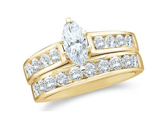 14k Yellow Gold Diamond Ladies Engagement Ring Wedding Band Two 2 Ring Set Solitaire Side Stones Marquise and Round Cut Diamond Ring  (1.0 cttw, 1/4 ct Center, G - H Color, I1 Clarity)