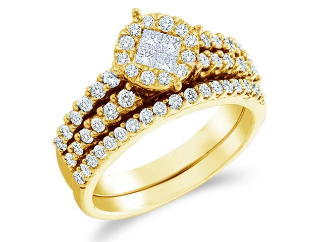 14k Yellow Gold Diamond Engagement Ring Wedding Band Two 2 Ring Set Solitaire Style Center Setting Side Stones Princess and Round Cut Diamond Ring  (1.02 cttw, G - H Color, SI2 Clarity)