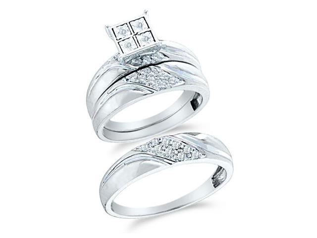 10k White and Yellow 2 Two Tone Gold Trio 3 Three Ring w/ Engagement Wedding Ring Band Set - Round Diamonds - Micro Pave Princess Shape Center Setting (1/4 cttw, H Color, I1 Clarity)