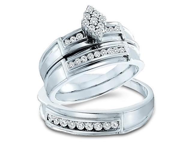 14k White Gold Trio 3 Three Ring Matching Engagement Wedding Ring Band Set - Round Diamonds - Marquise Shape Center Setting w/ Side Stones (1/2 cttw, H Color, I1 Clarity)