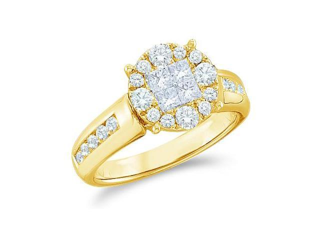 14k Yellow Gold Diamond Engagement Invisible Solitaire Style Center Setting Channel Set Side Stones Princess and Round Brilliant Cut Diamond Ring  (1.04 cttw, G - H Color, SI2 Clarity)