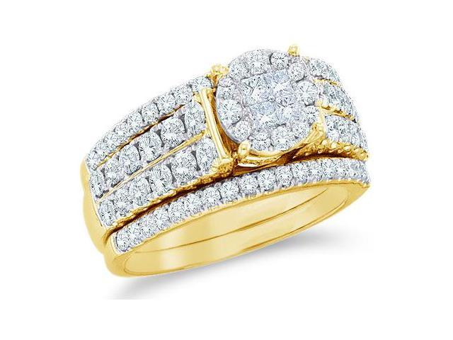 14k Yellow Gold Diamond Engagement Ring Wedding Band Two 2 Ring Set Solitaire Style Center Setting Princess and Round Cut Diamond Ring 10mm (1.51 cttw, G - H Color, SI2 Clarity)